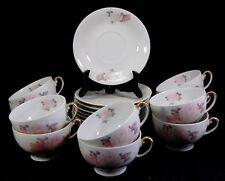 KPM Gilded Porcelain Cup & Saucer Lot 19 Pcs Pink & White Rose Germany Set