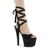 Pleaser SKY-334 Women's Black Faux Suede Matte Heel Platform Criss Cross Sandals
