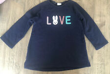 H&M Baby Girl Navy Applique  Bunny Dress Size 12-18 Months