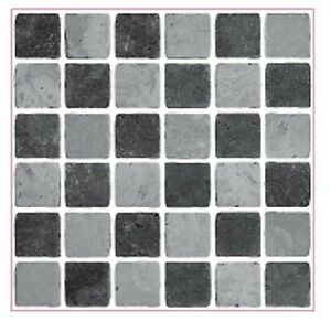 LPS Pack of 10 black stone travertine effect Mosaic tile transfers stickers k...