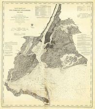 "1866 Coast Chart New York Bay & Harbor Nautical Poster U.S. 11""x13"" Survey Map"