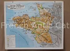Rare carte scolaire ancienne Massif Amoricain Marges Bretagne géologie 104 Varon