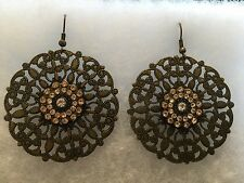 Dangle Earrings Cooper & Rhinestone
