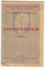 CARTE D ELECTEUR SOLLIES PONT  VAR   1958