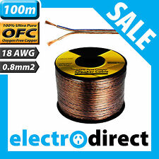 100m 18AWG (0.8mm2) Speaker Cable Roll 100% Pure OFC - 18 Guage Wire Audio Cord