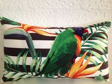 Bird Of Paradise Outdoor Indoor Tropical Bird Parrot Lumbar Retro Cushion Cover