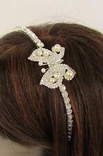 Women Classic Fashion Headband Butterfly Silver Bling Cute Imitation Pearl Beads