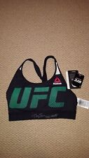 ROSE NAMAJUNAS AUTOGRAPH SIGNED UFC OCTAGON BRA BLACK GREEN JSA WITNESS SW CHAMP