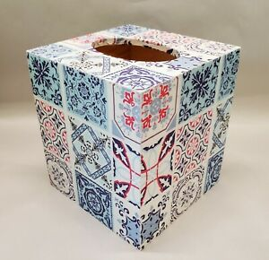 Handmade Decoupage Wood Tissue Box Cover, Moroccan Tiles