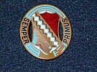 "WWII US Army First 1st Infantry Regiment ""Semper Primus"" DI DUI Crest Pin Orig."