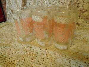 6 Vintage Mid Century Modern Drinking Glasses Tumblers Pink & White Flowers Fern
