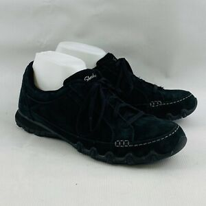 Womens 10 Skechers Bikers Curbed Oxford Shoes Black Suede Leather Relaxed Fit RF