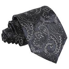 DQT Woven Floral Royal Paisley Black & Silver Formal Wedding Mens Classic Tie