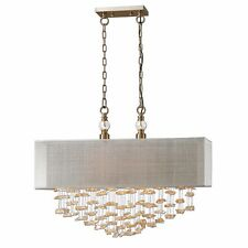 "SANTINA XXL 30"" CHAMPAGNE CRYSTALS METAL PENDANT HANGING SHADE CHANDELIER 22033"