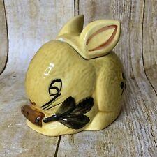 Bunny Rabbit Sugar Bowl Jar Yellow No Spoon  FLAW