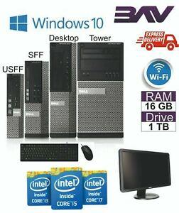 DELL/HP i5 QUAD SFF USFF PC & TFT COMPUTER SET 16GB WINDOWS 10 HDD & SSD