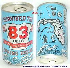 1983 FLORIDA SPRING BREAK BEACH PARTY MAP BEER CAN SWIM-SURF-OCEAN-GULF-SURVIVE!