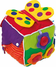 Baby Motorik Würfel aus Stoff bunt 16x16x16 cm Stoffwürfel Lernwürfel für Babys