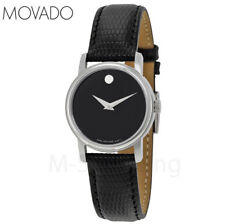 NEW Movado Museum Black Dial Black Leather Women Watch 2100004 - FREE Shipping!