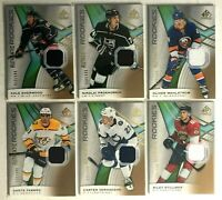6 Card Rookie Jersey Lot 2019-20 SP Game Used Gold Relics Authentic Fabbro