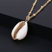 Natural Bohemian Beach Sea Shell Cowrie Pendant Charm Chain Necklace JewelryZ YR