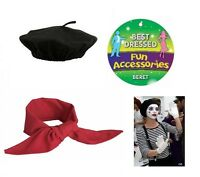 Mens Ladies French Man Mime Artist Fancy Dress Beret Red Neck Scarf Neckerchief