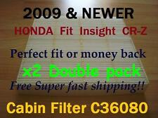 x2 C36080 HONDA Fit Insight CR-Z 2009 & Up - CABIN FILTER HIGH QUALITY Fast Ship