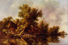 492051 Landscape With Ferry Jacob Van Ruysdael A4 Photo Print