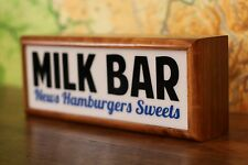 theatre style light box sign Milk Bar advertising neon sign lightbox lamp wooden