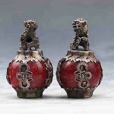 2PCS COLLECTIBLE DECOR OLD JADE & TIBET SILVER LION STATUE