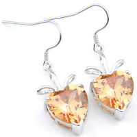 Romantic Heart Shiny Natural Honey Morganite Gemstone Silver Dangle Earrings