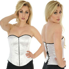 WHITE SATIN BASQUE CORSET gothic  tutu punk GOTH ALTERNATIVE BURLESQUE
