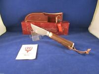 "Muela 8 5/8"" Beagle Stag Knife With Genuine Leather Sheath Mint In Box - 11A"