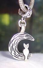 Cat Sitting on a Crescent Moon Kitten Dangle Bead for European Charm Bracelets