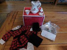 AMERICAN GIRL SAMANTHA HOLIDAY SET IN BEFOREVER BOX DRESS TEA SET BOOTS NIB