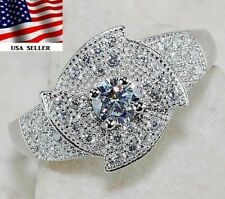 1CT White Sapphire 925 Solid Genuine Sterling Silver Ring Jewelry Sz 6 Z-24