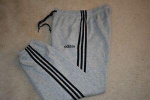 adidas Medium Men's 3-Stripe Cotton Blend Elastic Ankle Sweat Pants Heather Gray