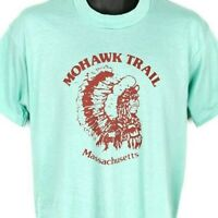 Mohawk Trail T Shirt Vintage 80s Massachusetts Native American Made In USA Large