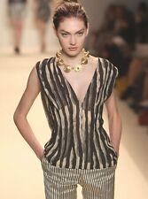 BRIAN REYES Black Ivory Silk Stripe Print Open Back Top  6