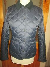 Barbour Deveron Navy Blue Quilted Jacket Coat Size 8 With Tags