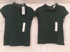 📚 Girl's Dark Green Polo Shirt Lot L 10-12 New Nwt School Uniform Hunter Forest