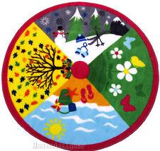 "39"" x 39""  Educational Round  Rug Four Season Spring Summer Fall Winter Kids 3x3"