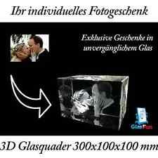 3D Glas Quader Kristall Geschenk Foto Graviert Glasfun 300x100x100 mm