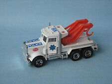 Matchbox Peterbilt Wrecker Police Grey Exhaust SFPD Wreck Truck Toy Model UB
