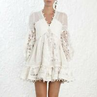 NEW Chic Women's White Ruffle Lace Cutout Dot Tassels Dresses Mini Skirts Casual