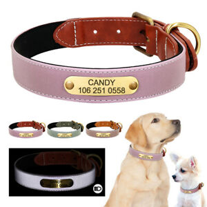 Dog Leather Personalised Dog Collar with Custom Engraved Name ID Tag Reflective