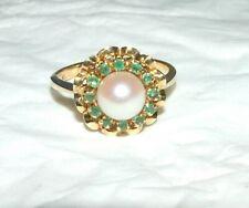 Ring mit Perle und Smaragden  750 Gold, 18 kt Gr. 51