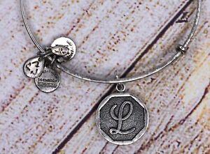 Alex and Ani Letter Initial L Charm Bangle Silver Bracelet
