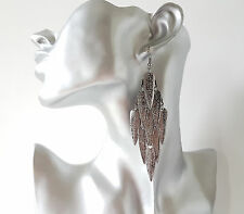 GORGEOUS 10cm hematite patterned diamond shape layered drop - dangly earrings