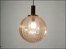 Kugel Pendel Leuchte Klar-Glas & Gold Einschmelzung 60er 70er Jahre mit Messing